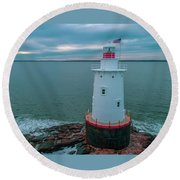 Round Beach Towel featuring the photograph Sakonnet Lighthouse by Michael Hughes