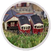Round Beach Towel featuring the photograph Saltburn Tramway by Scott Lyons