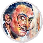 Salvador Dali Portrait Round Beach Towel