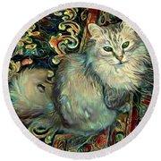 Samson The Silver Maine Coon Cat Round Beach Towel