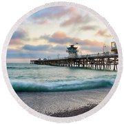 Round Beach Towel featuring the photograph A San Clemente Pier Evening by Brian Eberly