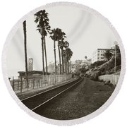 San Clemente Train Tracks Round Beach Towel
