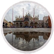San Marco Cathedral Venice Italy Round Beach Towel