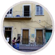 Round Beach Towel featuring the photograph Guanajuato Street Scene by Rosanne Licciardi