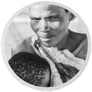 San Mother And Child Round Beach Towel