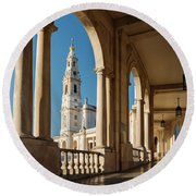 Sanctuary Of Fatima, Portugal Round Beach Towel