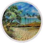 Sand To The Shore Montage Round Beach Towel