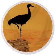 Sandhill - Crane - Sunset Round Beach Towel