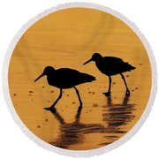 Sandpipers - At - Sunrise Round Beach Towel