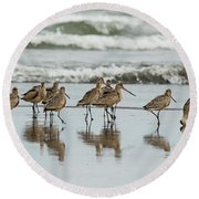Round Beach Towel featuring the photograph Sandpipers Piping by Bob Cournoyer