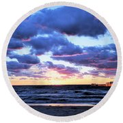 Sandy Sunset Round Beach Towel