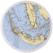 Sanibel And Captiva Islands Nautical Chart Round Beach Towel