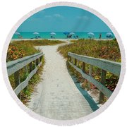 Sanibel Beach Umbrellas Round Beach Towel
