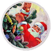 Santa Claus Decorate Christmas Tree Round Beach Towel