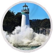 Santa Cruz Lighthouse And Crashing Waves Round Beach Towel