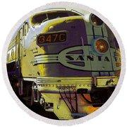 Santa Fe Railroad 347c - Digital Artwork Round Beach Towel