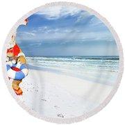 Santa Lifeguard Round Beach Towel