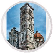 Santa Maria Del Fiore Cathedral Doorway And Bell Tower Round Beach Towel