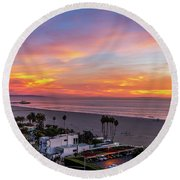 Santa Monica Pier Sunset - 11.1.18  Round Beach Towel