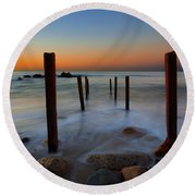 Santa Monica Sunrise Round Beach Towel