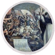 Santo Domingo In The Battle Of Monforte - 1650. Figueroa Baltasar. Round Beach Towel