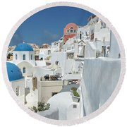 Round Beach Towel featuring the photograph Santorini And Up by Kay Brewer