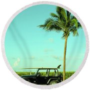 Saturday Surfer Jeep Round Beach Towel