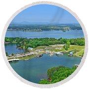 Saunders Marina, Smith Mountain Lake, Va. Round Beach Towel