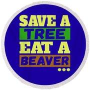 Save A Tree Round Beach Towel