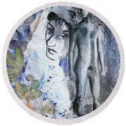 Round Beach Towel featuring the painting Savior Of Squirrels   by Rene Capone