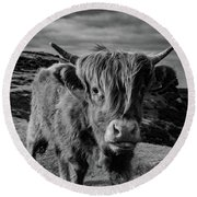Saying Hello To A Highland Cow At Baslow Edge Black And White Round Beach Towel