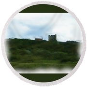 Scarborough Castle Painting Round Beach Towel