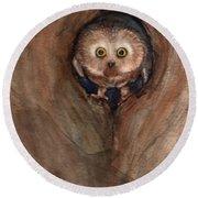 Scardy Owl Round Beach Towel