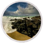 Scarista Beach Digital Painting Round Beach Towel
