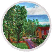 Scene From Giverny Round Beach Towel