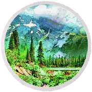 Scenic Mountain Lake Round Beach Towel