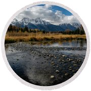 Round Beach Towel featuring the photograph Schwabacher Landing by Scott Read