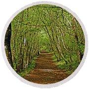 Scotland. Killiecrankie. Path Through The Trees. Round Beach Towel