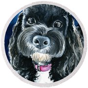 Scout - Cavoodle Dog Painting Round Beach Towel