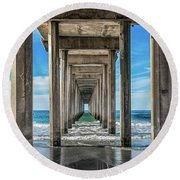 Scripps Pier La Jolla California Round Beach Towel