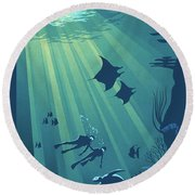 Scuba Dive Round Beach Towel