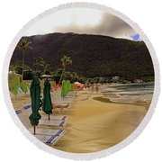Round Beach Towel featuring the photograph Sea And Sand by Tony Murtagh