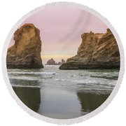 Round Beach Towel featuring the photograph Sea Stack And Spires Sunset 1, Bandon Beach, Oregon by Dawn Richards