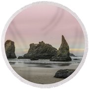 Round Beach Towel featuring the photograph Sea Stack And Spires Sunset 3, Bandon Beach, Oregon by Dawn Richards