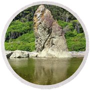 Sea Stack At Ruby Beach  Round Beach Towel