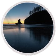 Round Beach Towel featuring the photograph Sea Stack Silhouette by Ed Clark