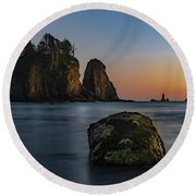 Round Beach Towel featuring the photograph Sea Stacks At La Push by Ed Clark