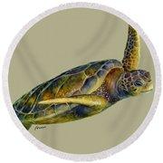 Sea Turtle 2 - Solid Background Round Beach Towel