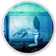 Sea Turtle And Woman Round Beach Towel