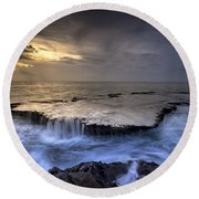 Sea Waterfalls Round Beach Towel